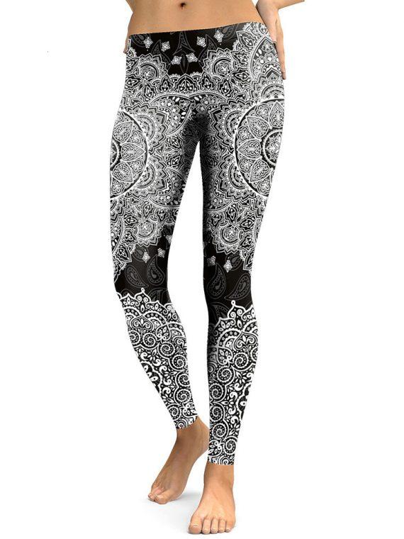 pantalon de yoga noir à imprimé Mandala