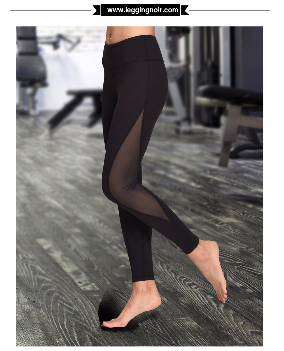 Collant sport transparent noir