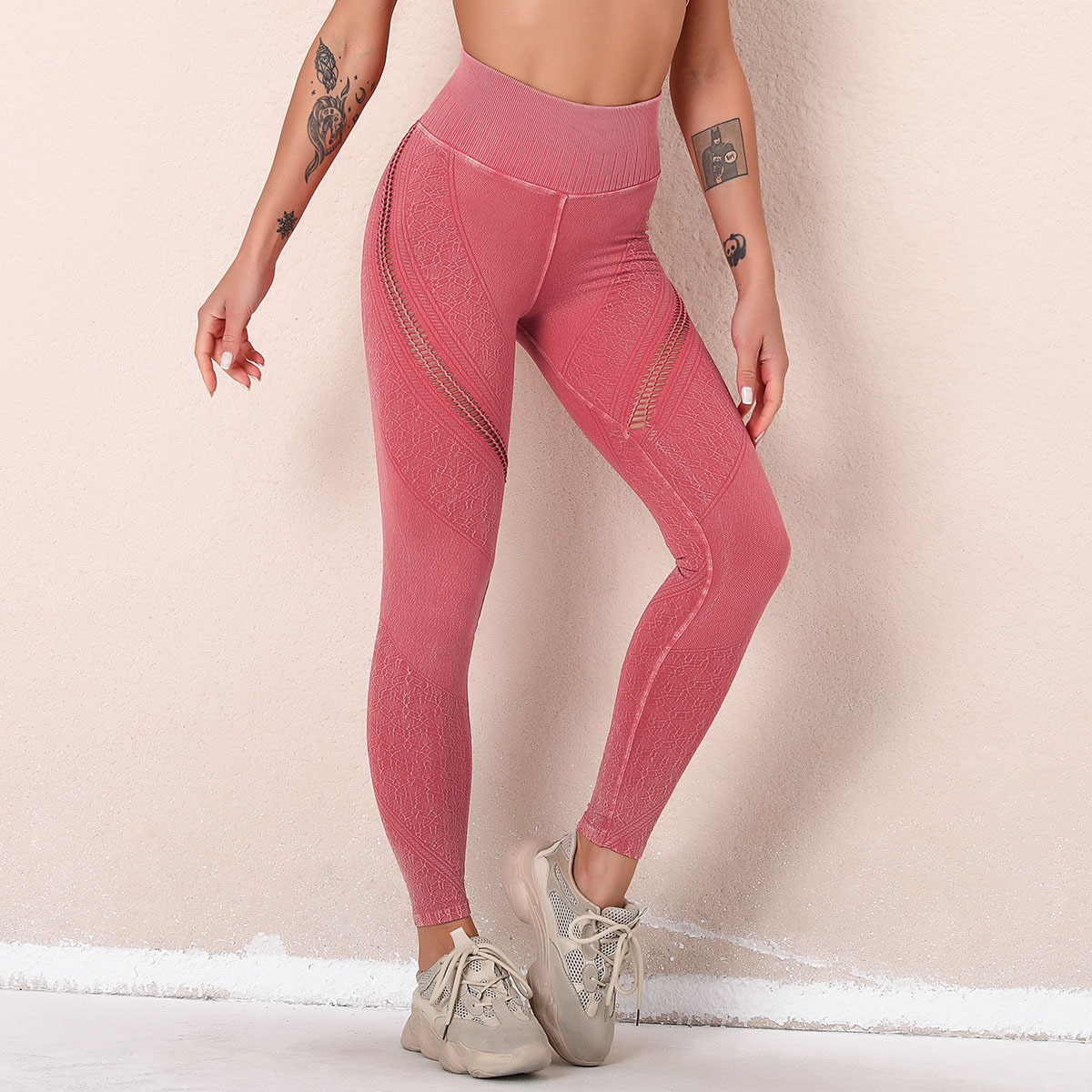 legging imitation jean rose